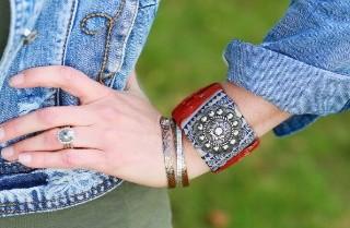Candie Cooper Leather Cuff and Metal Cuffs 2