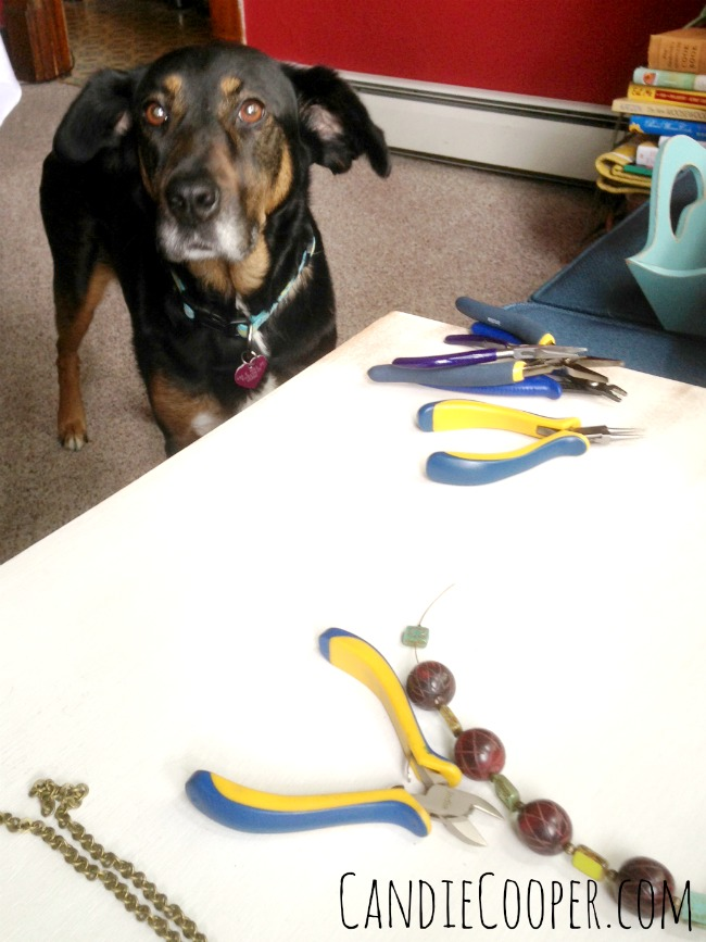 Bebe making jewelry