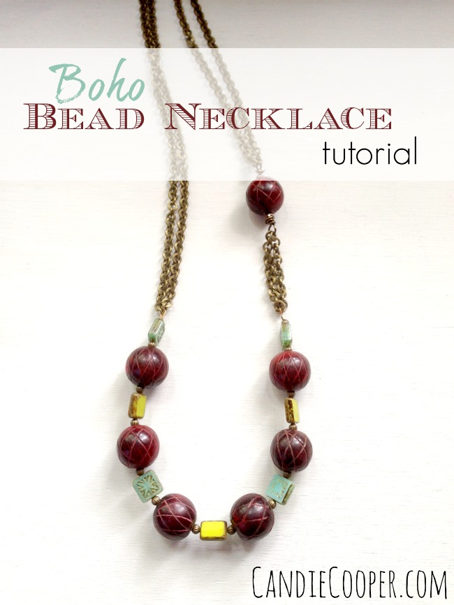 DIY Jewelry Making Boho Bead and Chain Necklace tutorial