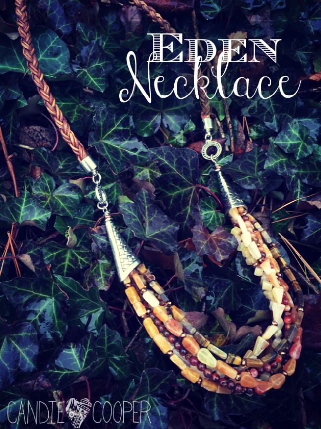 DIY multi-strand gemstone necklace with LeatherCordUSA.com thick braided leather element