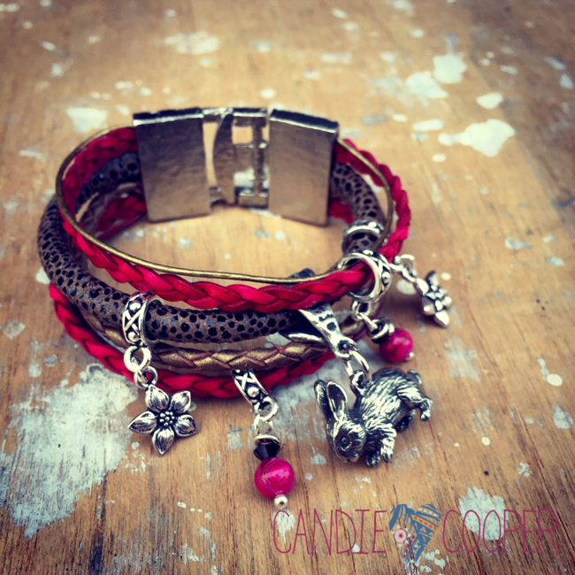 DIY Jewelry with LeatherCord USA: Multi Strand Leather Bracelet Idea with Charms1