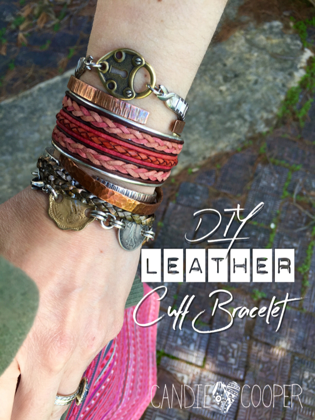 DIY Leather Jewelry Making: How to make a cuff bracelet with inlaid leather on Candie Coopers blog1