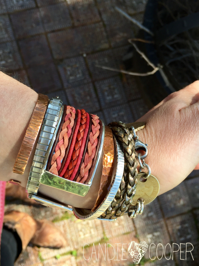 DIY Leather Jewelry Making: How to make a cuff bracelet with inlaid leather on Candie Coopers blog4