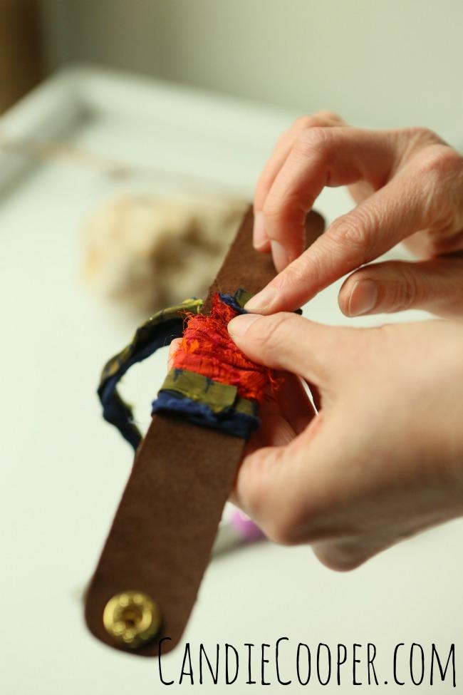 DIY Jewelry Making Wrapping a leather cuff with sari silk
