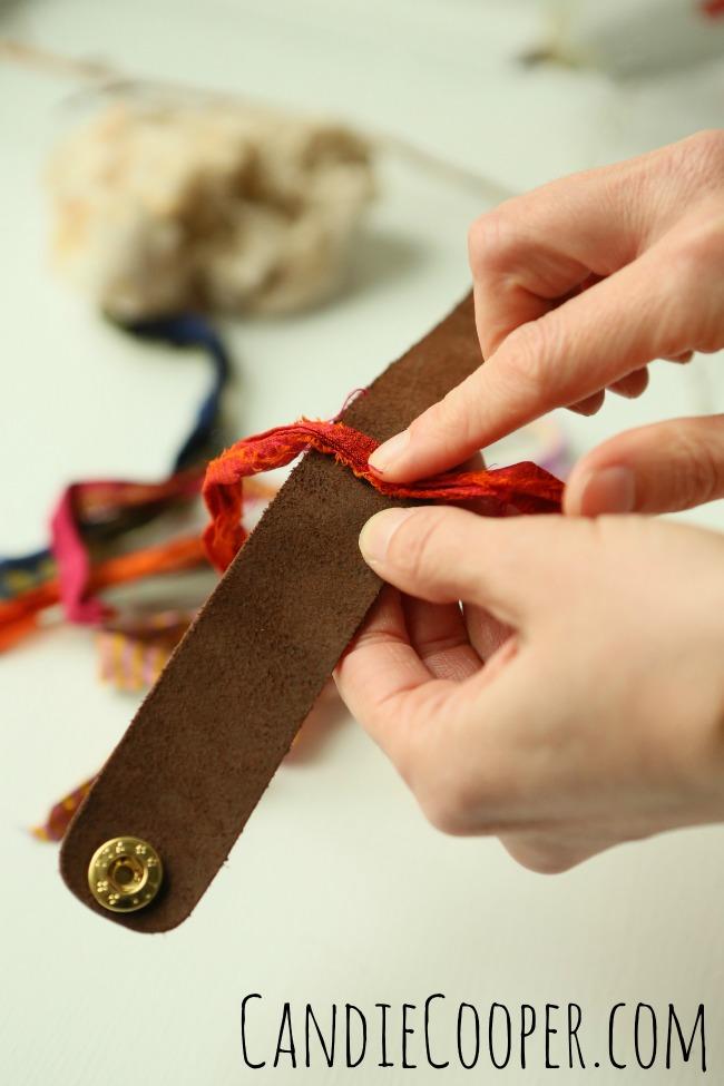 DIY Jewelry Making sari wrapped cuff