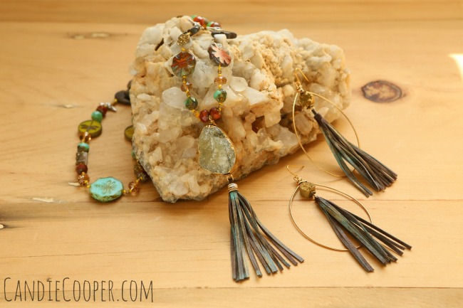 LeatherCord USA Tassel Earrings and Necklace from Candie Cooper