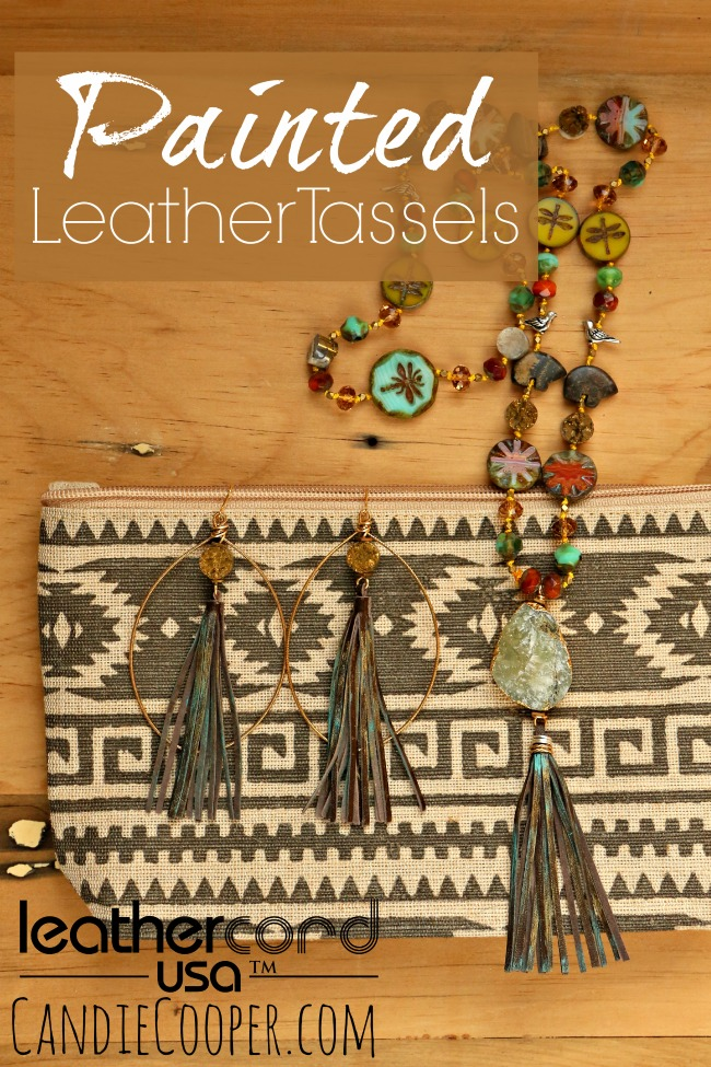 Painted Leather Leathercord USA Tassels from Candie Cooper