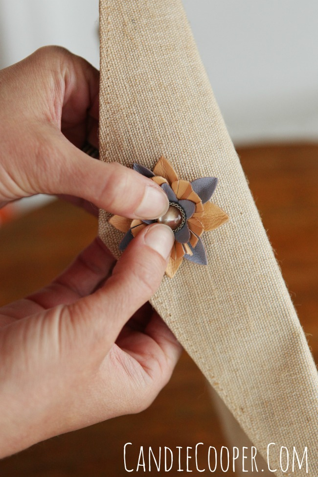 Embellishing a linen purse with Leather Cord USA flowers
