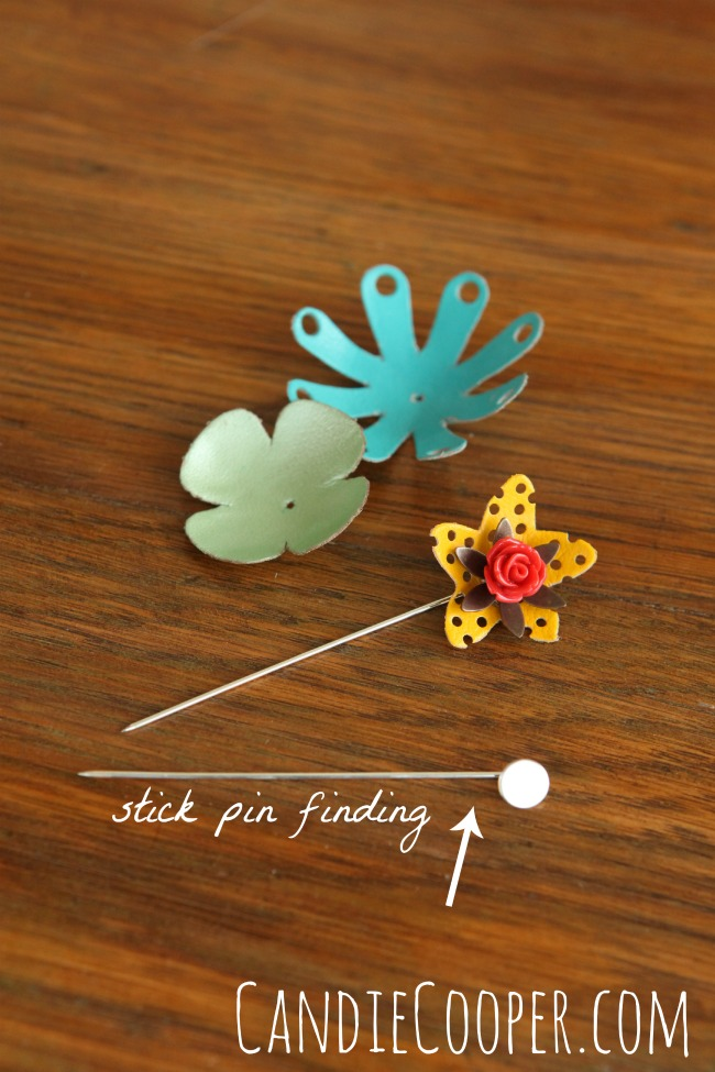 Leather jewelry-stick pins with Leather Cord USA flowers