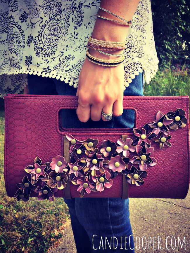 DIY FASHION Purse REvamp with LeatherCordUSA.com flowers and leather strap