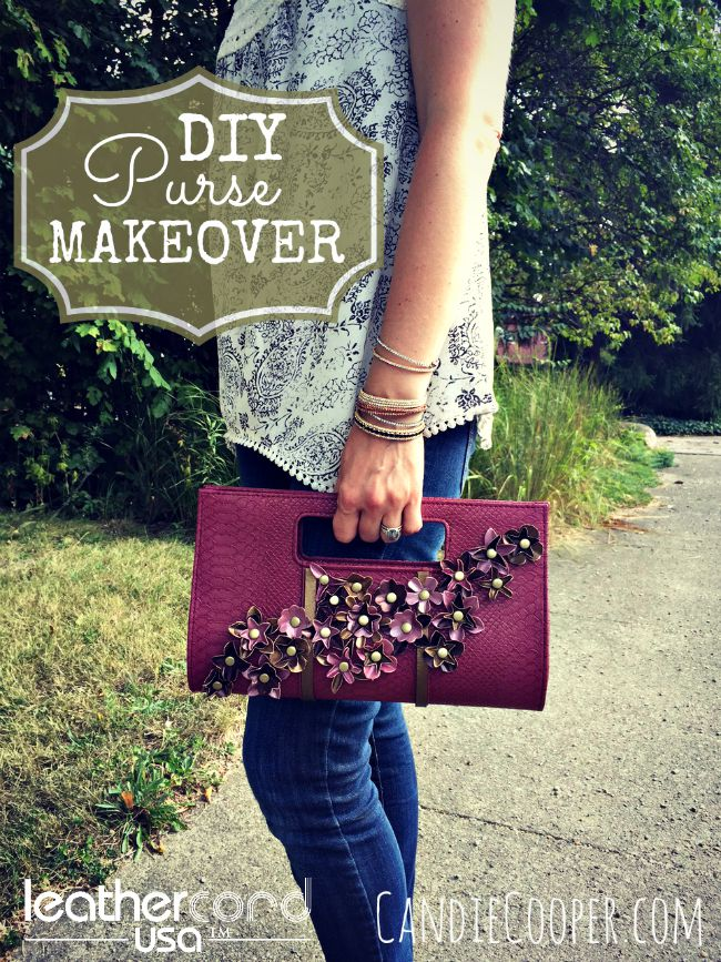 DIY Fashion; Purse Makeover on Candie Cooper's blog with Leathcord USA flowers