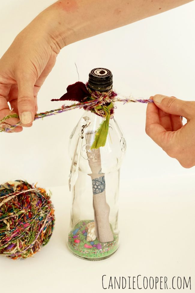 DIY Message in a bottle invite with recycled Republic of Tea bottle