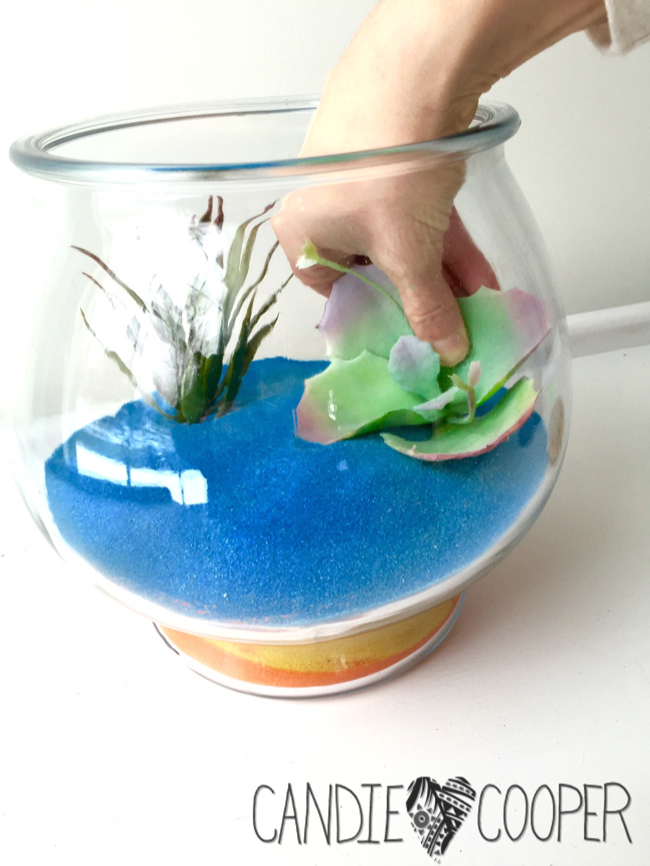Down in the desert kids sand art terrarium with glow for Plastic fish bowls dollar tree
