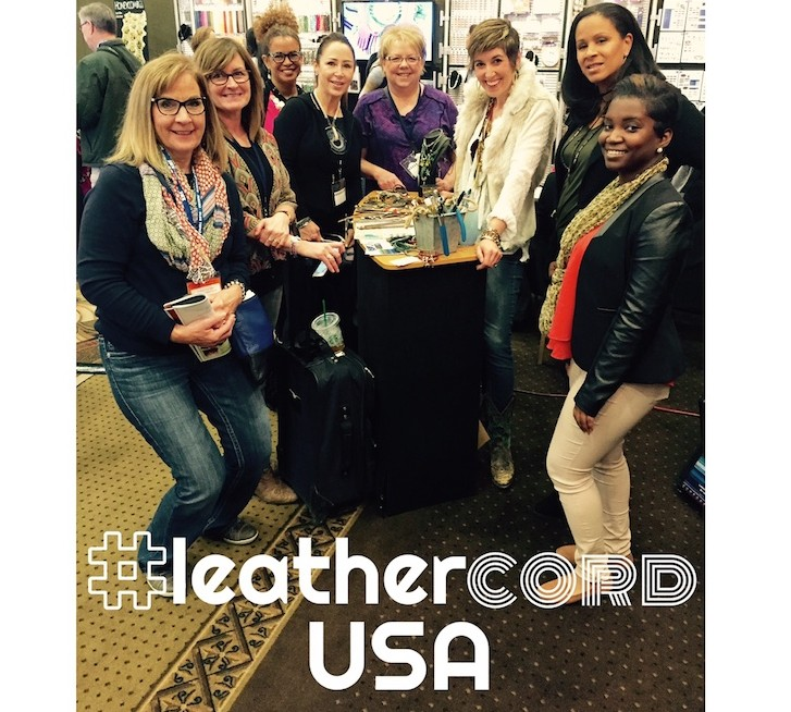 Candie Cooper demoing in the LeatherCordUSA booth at the To Bead True Blue