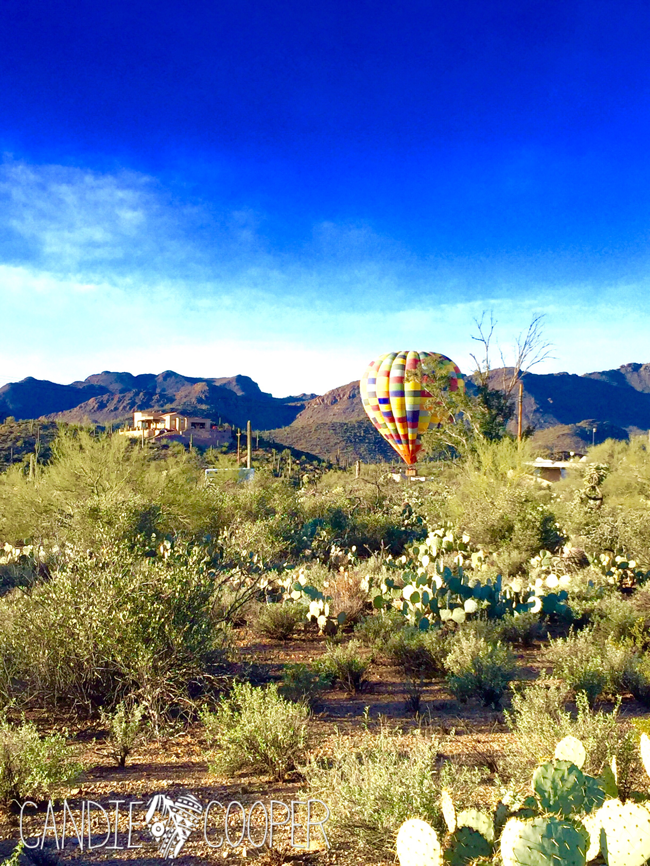 Tucson hot air balloon in desert via Candie Cooper