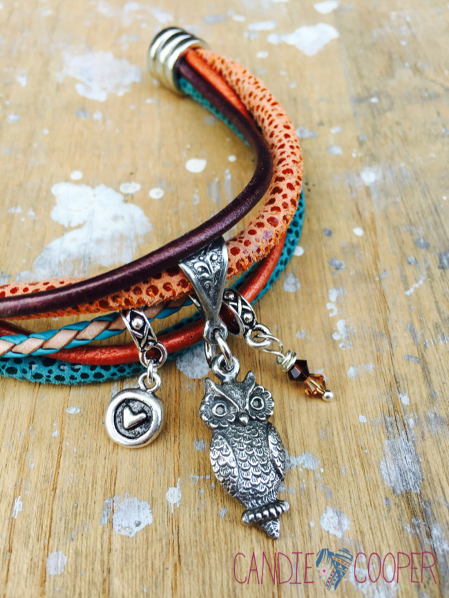 DIY Jewelry with LeatherCord USA: Multi Strand Leather Bracelet Idea with Charms4