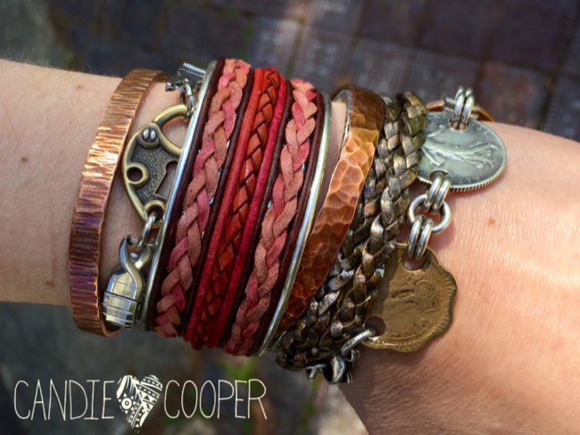 DIY Leather Jewelry Making: How to make a cuff bracelet with inlaid leather on Candie Coopers blog7