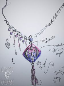 sketching jewelry designs with Candie Cooper