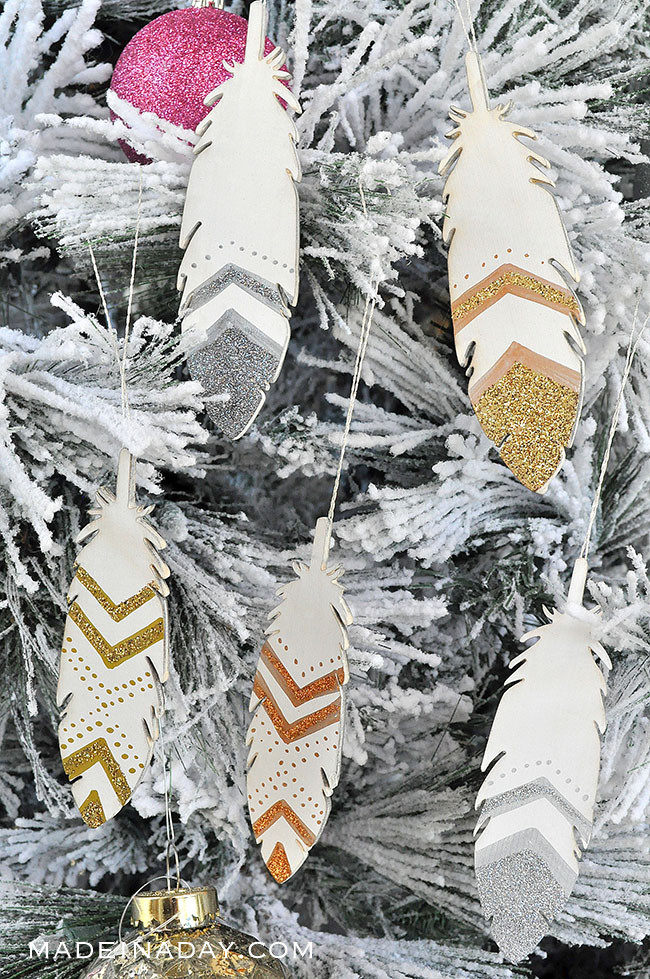 Made in A Day Blog Painted Feather Ornaments